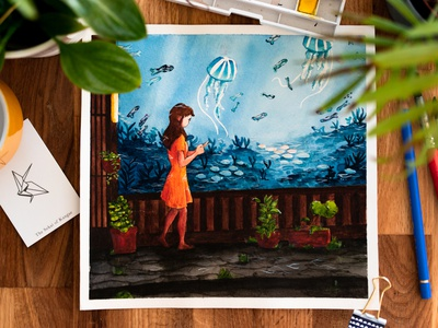 Another world illustration watercolor seabed paper art jellyfish watercolour print fish aquarium sea paint watercolor painting watercolor asian draw japan illustration