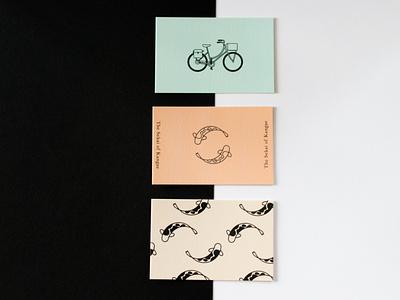 Printed business cards cute asian illustrator logo branding japan flat graphic design illustration