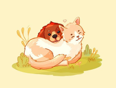 Kitty and puppy cute illustration color animals cute animals love friendship cute painting digital painting digitalart digital procreate puppy kitty dog cat draw illustration
