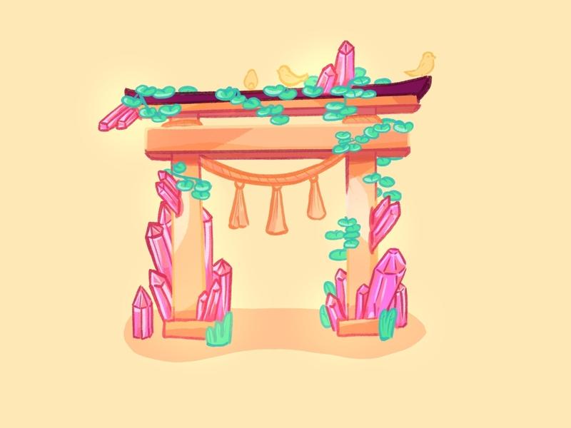 Shinto fantasy illustration shinto fantasy drawing sketch creative procreate nature doodle digital illustration digital art colors artwork artist art draw asian japan illustration