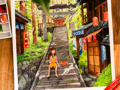 Japan temple street natural illustration watercolor colors artist art watercolor painting paint paper drawing cat girl shinto temple illustration japan draw