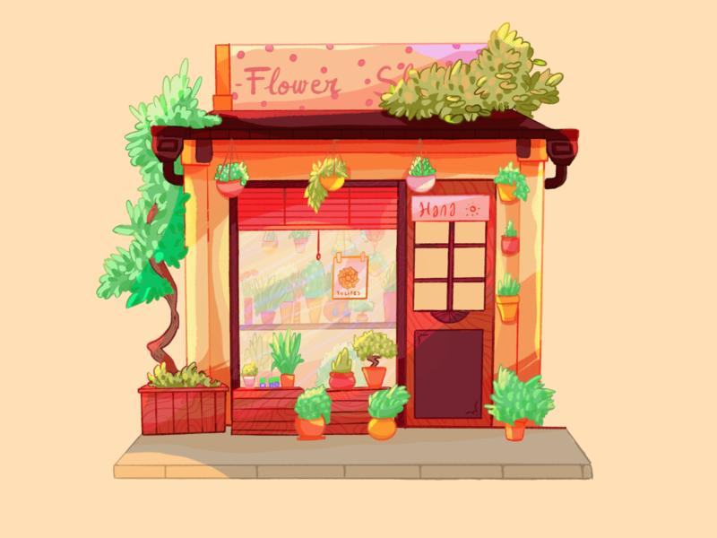 Flower Shop illustration plant shop shopfront facade drawings stall plant florist floral boutique cute japan drawing procreate nature shop flower color illustration
