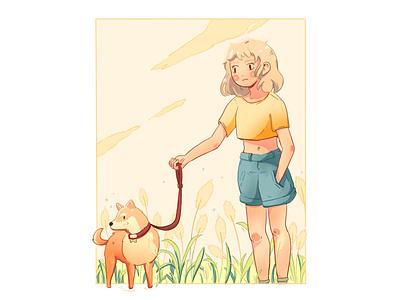 Promenade - Dog walk in countryside manga landscape cute dog draw art illustration art illustraion countryside girl illustration girl shiba inu shiba