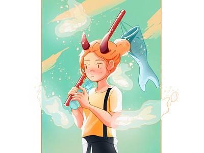 Magic ramune art asian color draw illustration drawing japanese art procreate girl japan koi carpe koi fish drink ramune