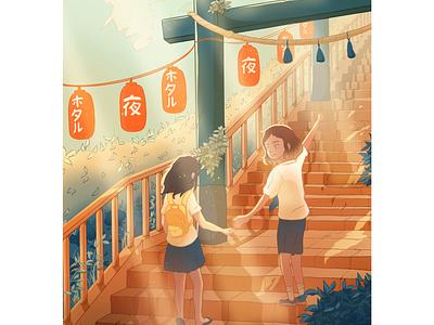 Going to the temple art procreate art illustration art love shinto temple procreate asian color japan draw illustration