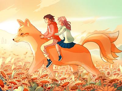 Fox countryside kitsune landscape illustrations boy girl fox sunflower art draw japan illustration