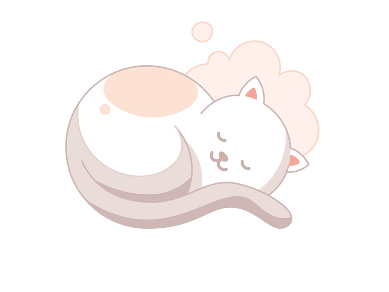 Cat sleeping vectors minimalist pink kawaii cute sleep cloud chat kitty cat draw vector illustration flat color design