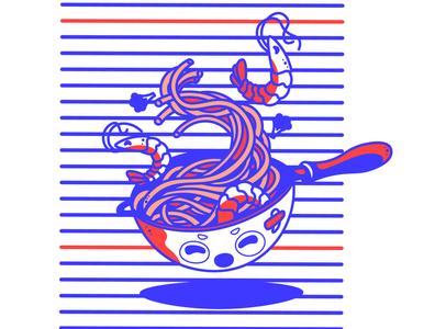 Asian Noodles Vector Illustration draw flat graphic design vector japan illustration fast food fastfood restaurant food noodles asian food asian