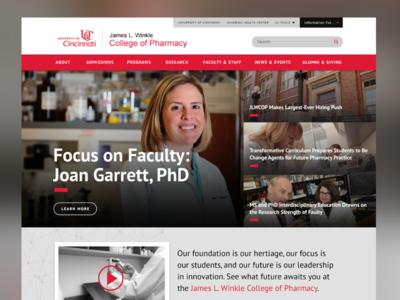 UC College of Pharmacy Homepage landing page homepage web design