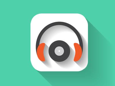 Dj Icon ios7 flat icon music minimalist clean longshadow color shadow ui headphone
