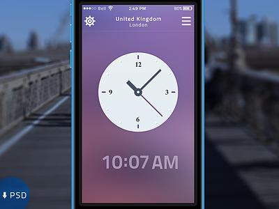 World Clock clean ui modern clock ios7 flat psd iphone 5c free mock up apple