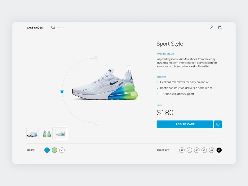 Product Page shoes clean web minimal identity type website flat ux typography branding ui logo design