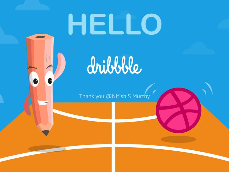 Hello Dribbble hello adobe design illustration vector art invite debuts