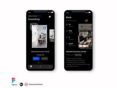 Coworking Mobile App UI app design iphone dark mode ui mobile ui figma app