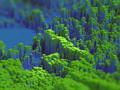 Green City particles 3d design blue green isometric kadasarva illustration