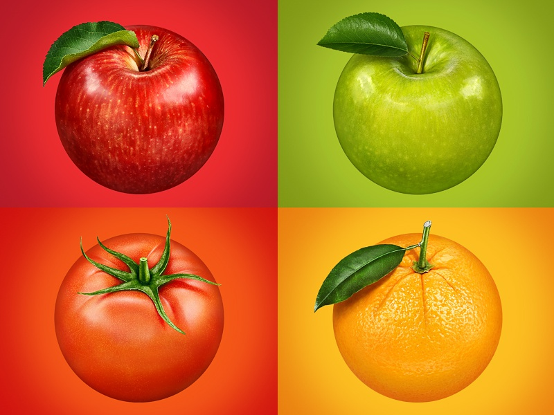 Fruits for packaging photo illustration retouching red green yellow orange apple tomato