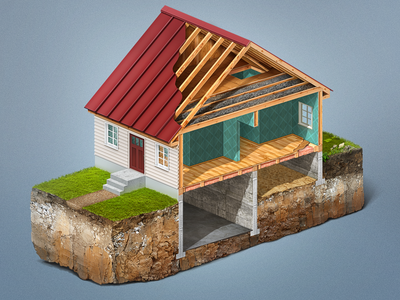 Home Insulation illustration isometric ground house print termites terminix