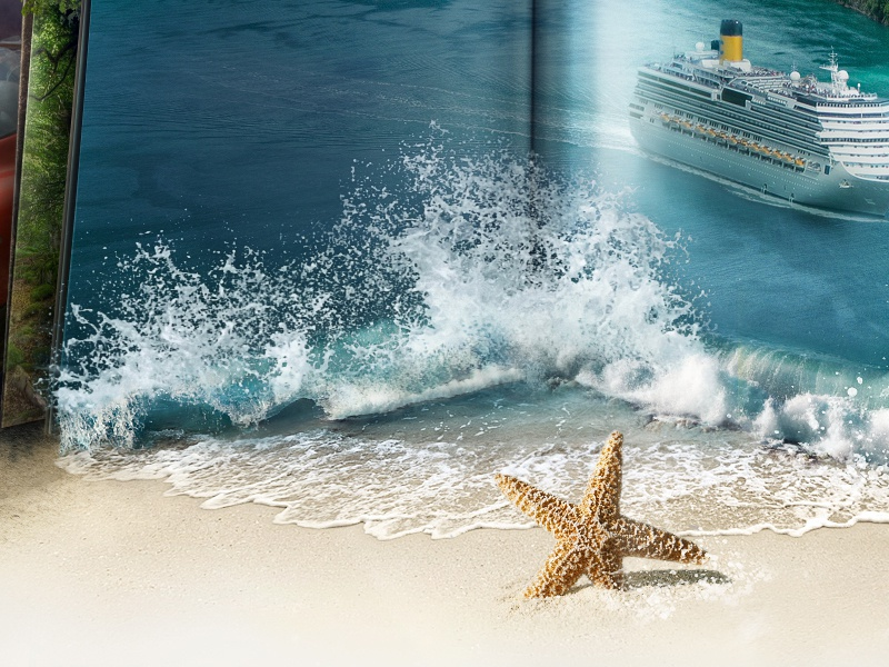 Beach illustration icon teaser splash ship sea book star