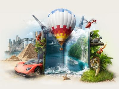 Photobook illustration illustration book balloon tiger pyramid helicopter sea parrot