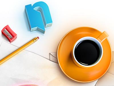 Error 404 page logo pencil orange cup icon teaser