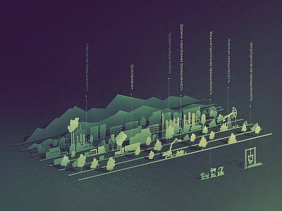 Industry layer-art flat isometric design isometric kadasarva illustration industry oil infographic teaser icon
