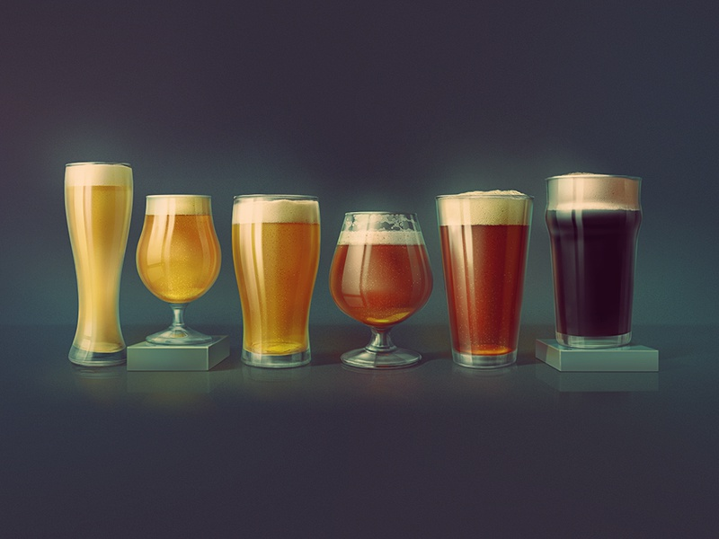 Beer Glasses craft brewery craft brew craft beer ipa ale stout photoshop kadasarva icon illustration glass beer