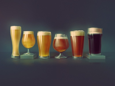 Beer Glasses digital painting craft brewery craft brew craft beer ipa ale stout photoshop kadasarva icon illustration glass beer