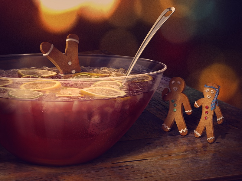 Happy Holidays bowl ofpunch gingerbread man new year card kadasarva illustration