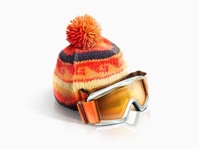 Winter tourism icon teaser snow red ski trand travel