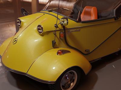 Wip Messerschmitt render cyclesrender cycles render illustration retro car yellow render cycles car blender3d