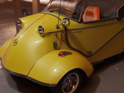 Wip Messerschmitt render cyclesrender cycles render illustration retro car yellow render cycles car blender3d