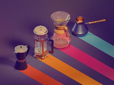 Coffee Brewing Methods isometric blender 3d chemex icons barista craft coffee kadasarva