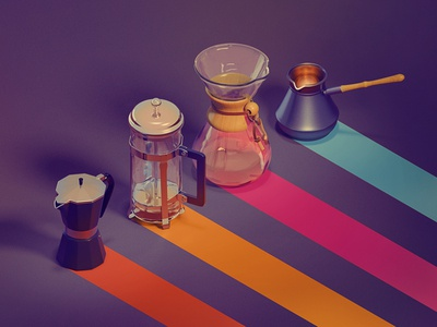 Coffee Brewing Methods isometric blender 3d chemex icons barista craft coffee kadasarva