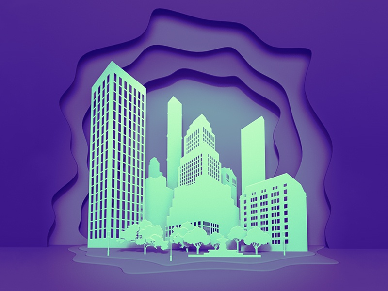 City layer style layer-art layer flat 3d city trend ultraviolet paper blender3d vector design kadasarva illustration