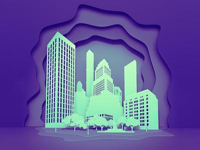 City layer style layer-art layer flat 3d city trend ultraviolet paper blender3d vector design kadasarva illustration