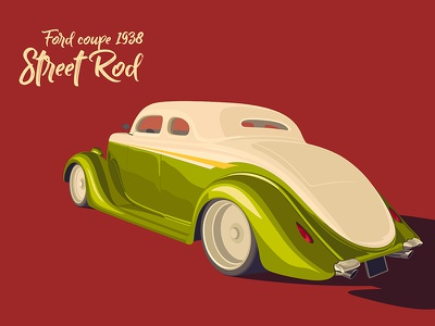Street Rod trend affinity design green car ford vector flat kadasarva illustration