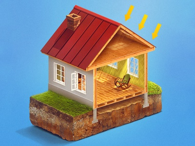 Thermo Insulation trend drawing photoshop icon illustration kadasarva infograhic isometric blue insulation house teaser