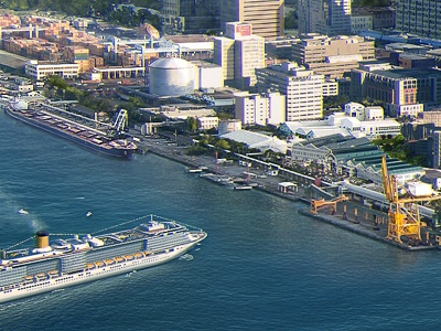Seaside City illustration matte painting kadasarva 2andreich city seaside ships
