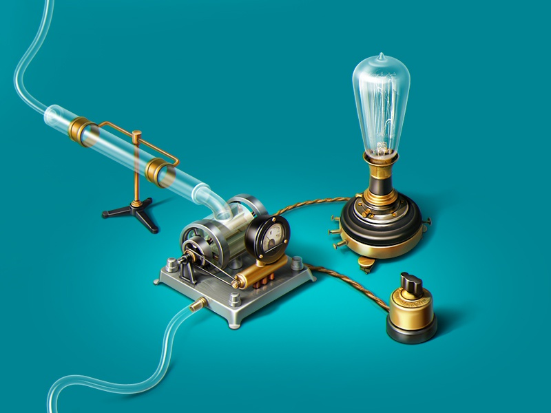 Hydroelectric generator icon teaser illustration teal lamp hydroelectric