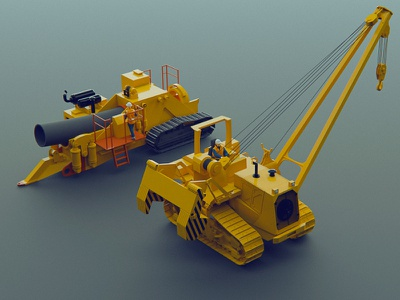 Pipe laying machines 1 3d model low-poly low poly lowpoly modeling blender 3d design teaser icon icons trand yellow isometric kadasarva illustration