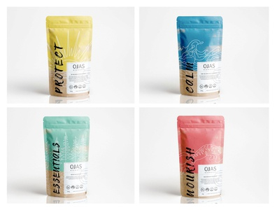 Packaging and visual identity for Ojas Elements