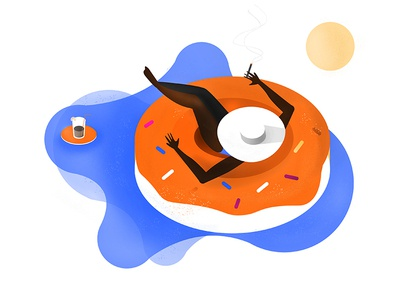 Donut worry! software studio studiosoftware relaxed sun drink pool relax donut photoshop programming illustration graphic flat design computer colorful blue blob
