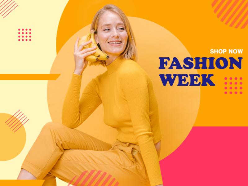 Fashion week banner sale design shop ecommerce design socialmedia photoshop fashion