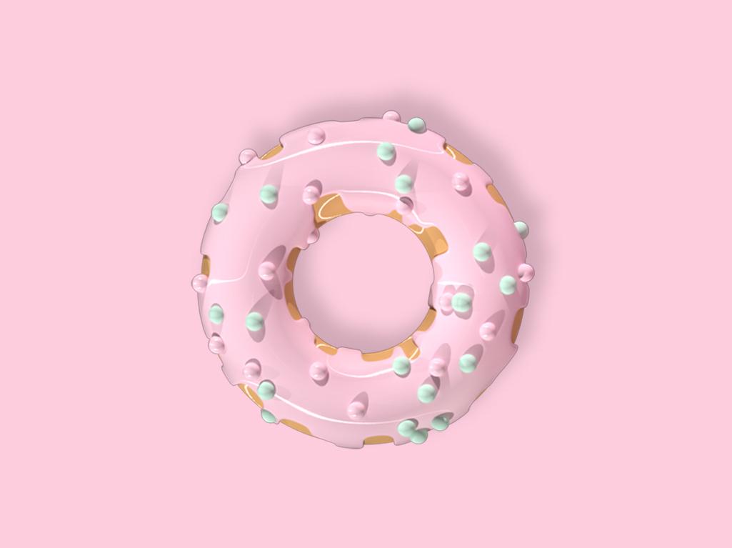 Donut/1 ui glossy logo donut pink illustration c4d photoshop maxonc4d design graphic  design cinema 4d 3d art