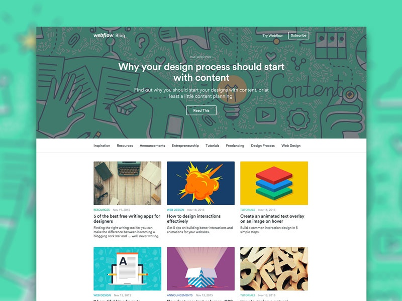 Redesigning the Webflow Blog … with Webflow CMS by Mat Vogels for