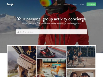 Zestful Homepage activities homepage website zestful