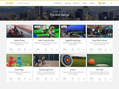 Zestful Product Shot design entertainment cards card activity website zestful