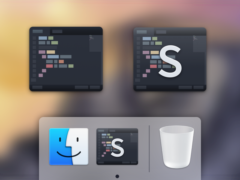WIP - Sublime Text Replacement Icon sublime text 2 3 replacement icon yosemite wip finder trash dock base16