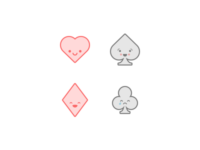 Cute Playing Card Icons simple minimalistic card spades hearts diamonds clubs cute