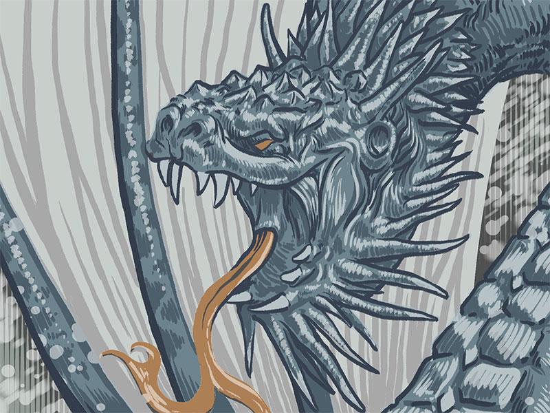 Dragon photoshop poster screenprint